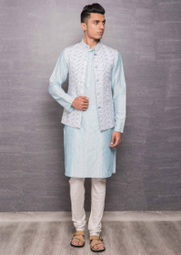 Sky Blue color Cotton Silk Fabric Mens Kurta Set