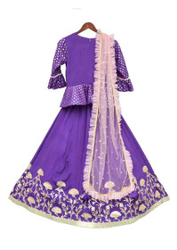 Purple color Modal Cotton Fabric Kids Wear Lehenga Choli
