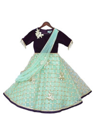 Sea Blue and Black color Net and Velvet Fabric Kids Wear Lehenga Choli