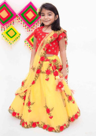 Yellow and Red color Cotton Fabric Kids Wear Lehenga Choli