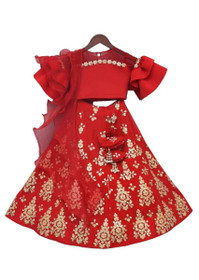 Kids wear Red color Silk and Lycra Fabric Lehenga Choli