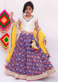 White and Blue color Silk and Cotton Fabric Lehenga Choli