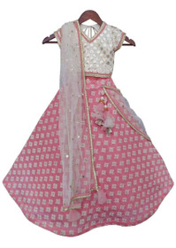 White and Pink color Silk and Cotton Fabric Lehenga Choli