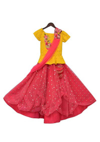 Yellow and Pink color Net Fabric Lehenga Choli