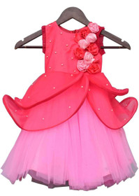 Hot Pink and Baby Pink color Net Fabric Gown