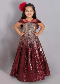 Maroon and Golden color Net Fabric Gown