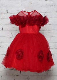 Red color Net Fabric Gown