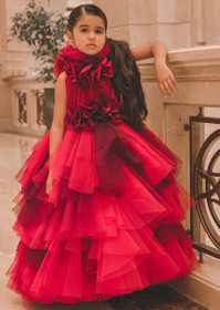 Red Extravagant Red color Net Fabric Kids Wear Gown