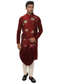 Red color Silk Fabric Mens Kurta Set