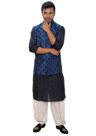 Navy Blue color Cotton Silk Fabric Mens Kurta Set