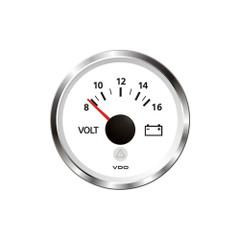 "VDO Marine 2-1\/16"" (52mm) ViewLine - Voltmeter 8-16V - White w\/Chrome Bezel [A2C59514850]"