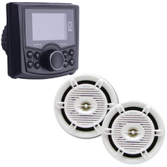 "Poly-Planar GSMR30 Marine Stereo w\/AM\/FM\/BT  Pair of Waterproof 6"" MA206 Speakers - White [GSMR30-CPAK]"