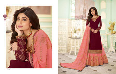 Maroon and Pink color Georgette Fabric Indowestern style Suit