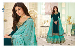 Turquoise and Sky Blue color Georgette Fabric Indowestern style Suit