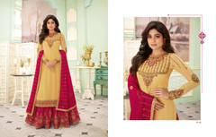 Peach and Magenta color Georgette Fabric Indowestern style Suit