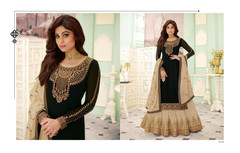 Black and Beige color Georgette Fabric Indowestern style Suit