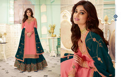 Pink and Turquoise color Georgette Fabric Indowestern style Suit