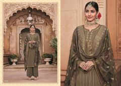 Mehndhi Leave shade Pure Crepe Fabric Ban Neck Design Suit
