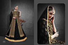 Black color Heavy Silk Fabric Embroidered Full Sleeves Floor Length Centre Cut Fabric Indowestern style Suit
