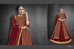 Red color Heavy Silk Fabric Embroidered Full Sleeves Floor Length Centre Cut Fabric Indowestern style Suit