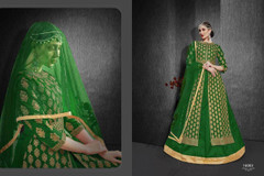 Green color Heavy Silk Fabric Embroidered Full Sleeves Floor Length Centre Cut Fabric Indowestern style Suit