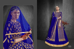 Indigo color Heavy Silk Fabric Embroidered Full Sleeves Floor Length Centre Cut Fabric Indowestern style Suit