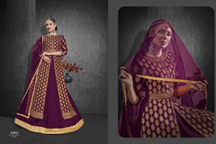 Purple color Heavy Silk Fabric Embroidered Full Sleeves Floor Length Centre Cut Fabric Indowestern style Suit