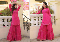 Pink color Pure Cotton Jacquard Fabric Top & Bottom
