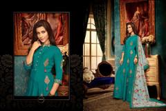 Blue color Ban Neck Design Floor Length Heavy Muslin Fabric Gown