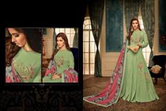 Pista Green color High Neck Design Floor Length Heavy Muslin Fabric Gown