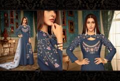 Blue color Floor Length Heavy Muslin Fabric Gown