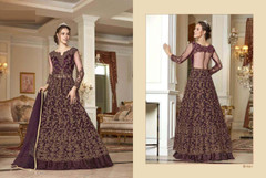 Wine shade Full Sleeves Floor Length Centre Opening Net Fabric Embroidered Party wear Indowestern style Suit