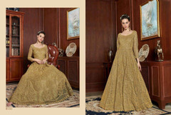 Golden shade Full Sleeves Floor Length Net Fabric Embroidered Party wear Anarkali style Suit