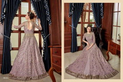 Lavender shade Full Sleeves Floor Length Centre Opening Net Fabric Embroidered Party wear Indowestern style Suit
