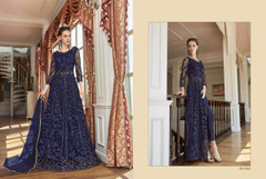 Royal Blue shade Full Sleeves Floor Length Centre Opening Net Fabric Embroidered Party wear Indowestern style Suit