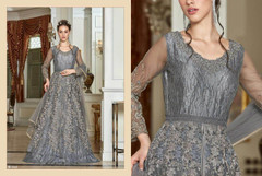 Grey shade Full Sleeves Floor Length Centre Opening Net Fabric Embroidered Party wear Indowestern style Suit