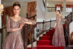 Mauve shade Full Sleeves Floor Length Net Fabric Embroidered Party wear Anarkali style Suit