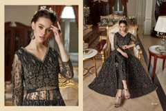 Black shade Full Sleeves Floor Length Centre Opening Net Fabric Embroidered Party wear Indowestern style Suit