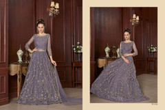 Light Purple shade Full Sleeves Floor Length Net Fabric Embroidered Party wear Anarkali style Suit