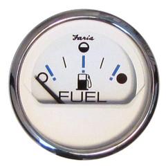 "Faria Chesapeake White SS 2"" Fuel Level Gauge - Metric (E-1\/2-F) [13818]"
