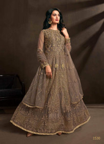 Grey color Net Fabric Embroidered Anarkali style Suit