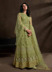 Olive Green color Net Fabric Embroidered Anarkali style Suit