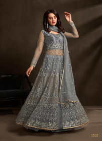 Bluish Grey color Net Fabric Embroidered Centre Cut Indowestern style Suit