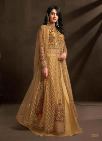 Golden color Net Fabric Embroidered Centre Cut Indowestern style Suit