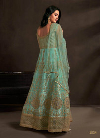 Blue color Net Fabric Embroidered Anarkali style Suit