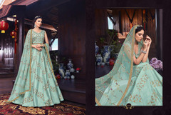 Blue color Pure Silk Fabric Floor Length Anarkali style Suit