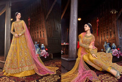 Yellow color Net Fabric Floor Length Centre Cut Indowestern style Suit
