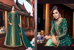 Double shade Green color Tussar Silk and Net Fabric Floor Length Centre Cut Indowestern style Suit