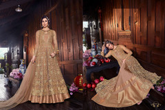 Brown color Net Fabric Floor Length Anarkali style Suit