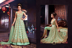 Olive Green color Net Fabric Floor Length Indowestern style Suit
